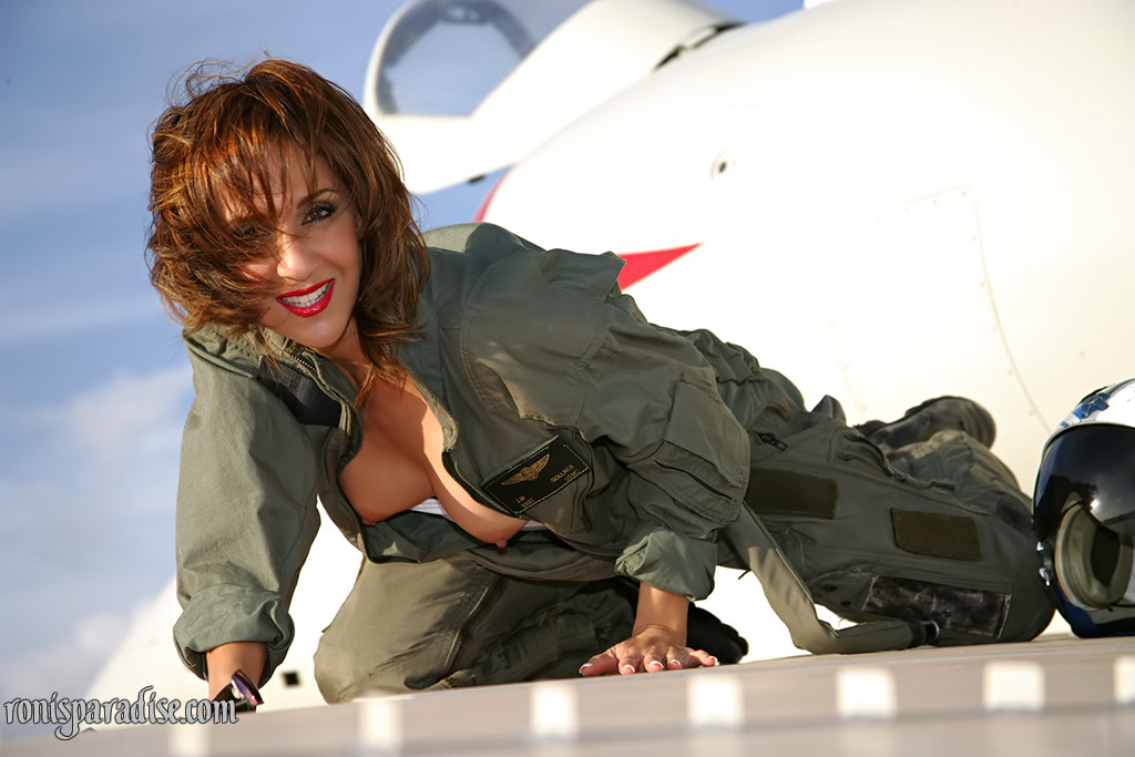 Photos of air force blonde females in uniform showing tits