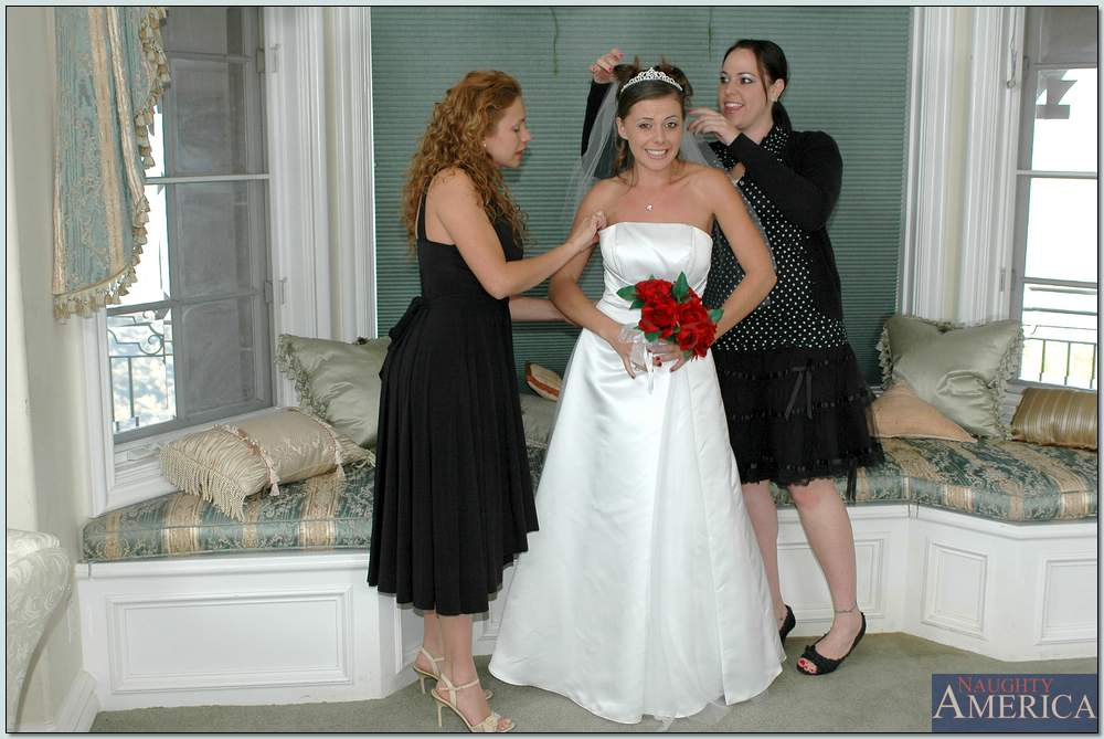 Bride and bridesmaid threesome penny flame