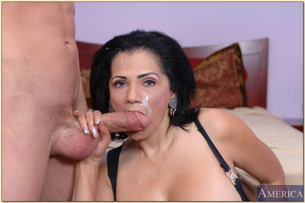 amelia latina facial - ... Busty latina mature Tiana Rose pleasuring fat cock and getting facial  ...