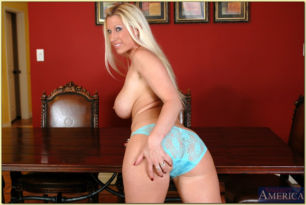 Mature blonde Devon Lee demonstrates big ass and comely tits