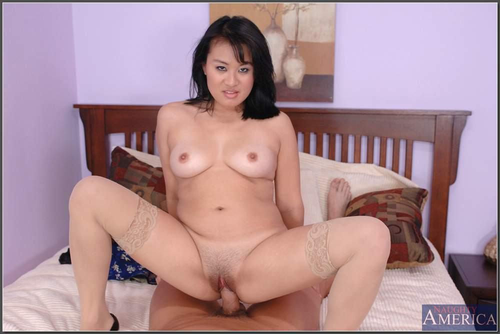 Asian BBW brunette Kiwi Ling stripped to nylon stockings and ...