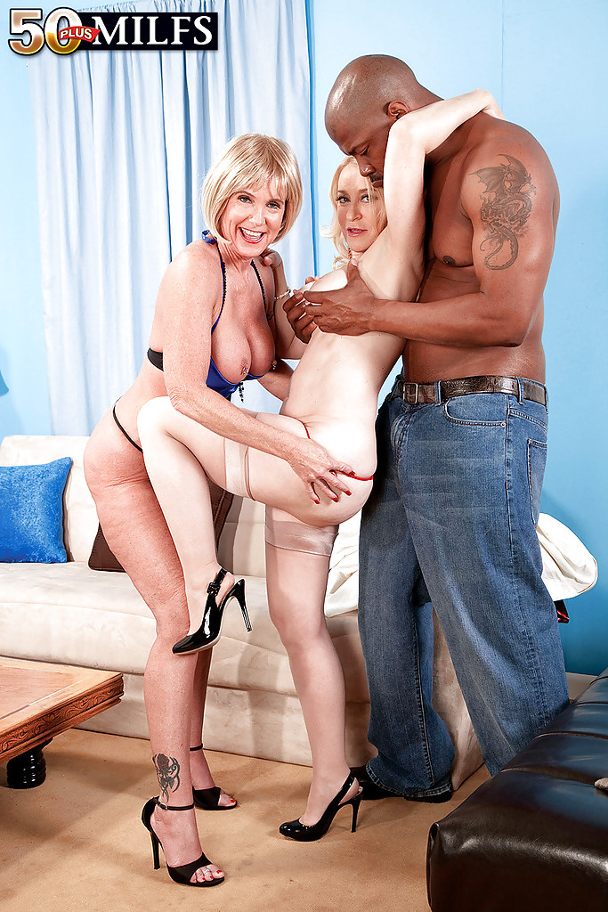 ... Busty grannies pleasuring huge black cock in interracial threesome ...