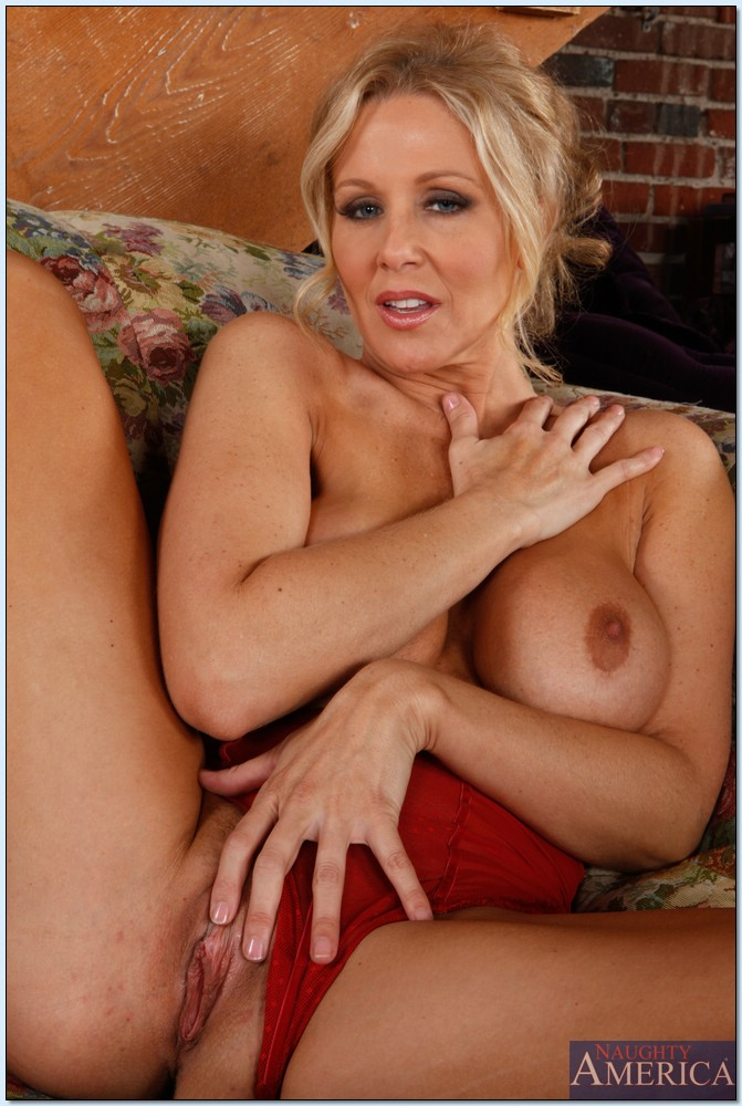 ... Busty MILF Julia Ann stripping off red lingerie and spreading pussy ...