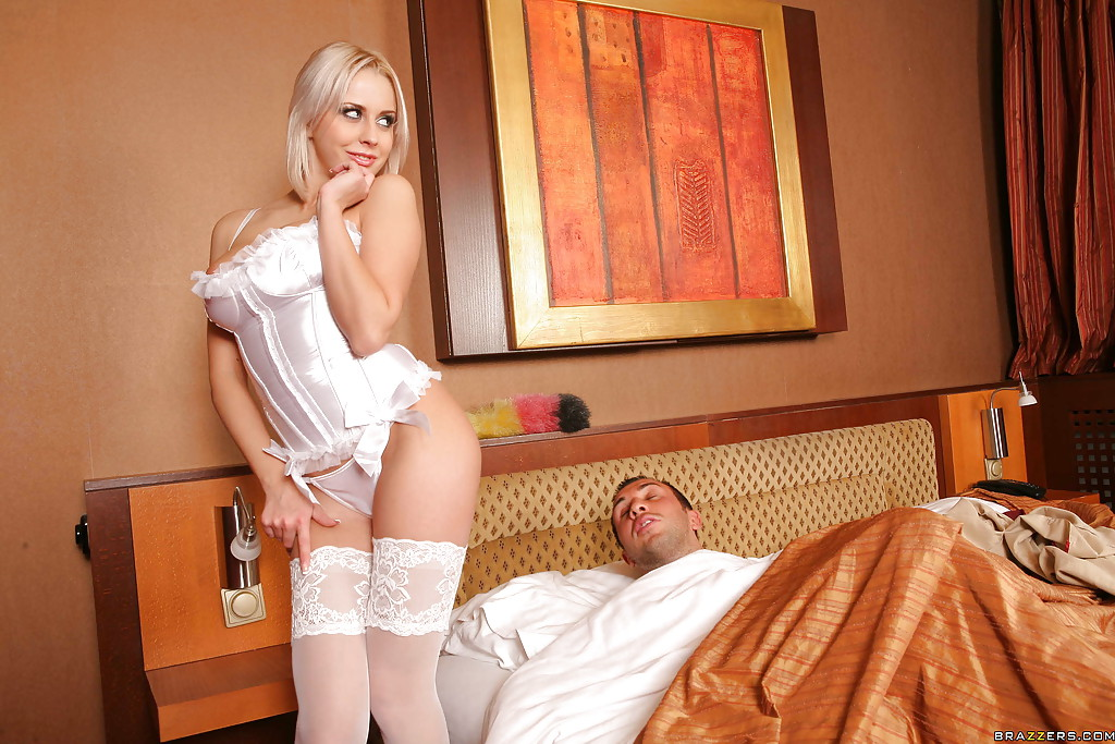 Nurse in uniform fucking and anal in a garter belt and white stockings