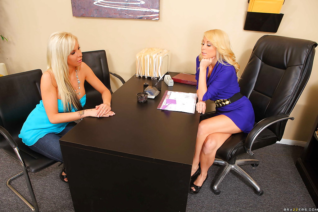 Real lesbian sex at the office