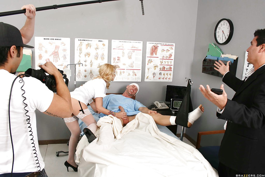 Blonde Monique Alexander is fucking in stockings and doctors uniform