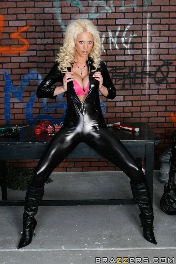 latex porn vids - Hot blonde in latex catsuit and boots Tanya James strips to show boobs ...