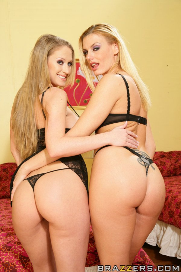 Lesbian big titted MILFS Darryl Hanah and Abby Rode pose ...
