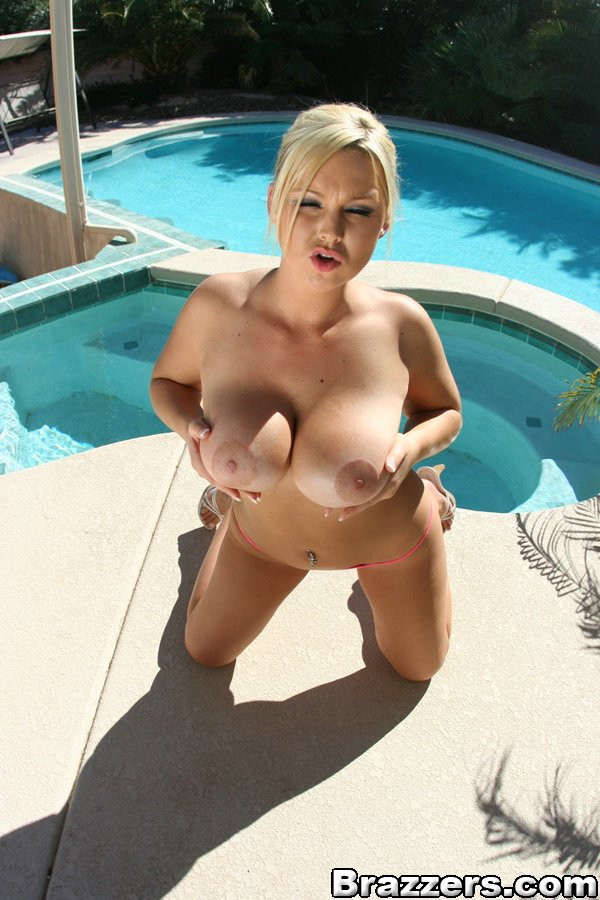 ... Hot babe with big boobs in bikini Abbey Brooks strips by the pool ...