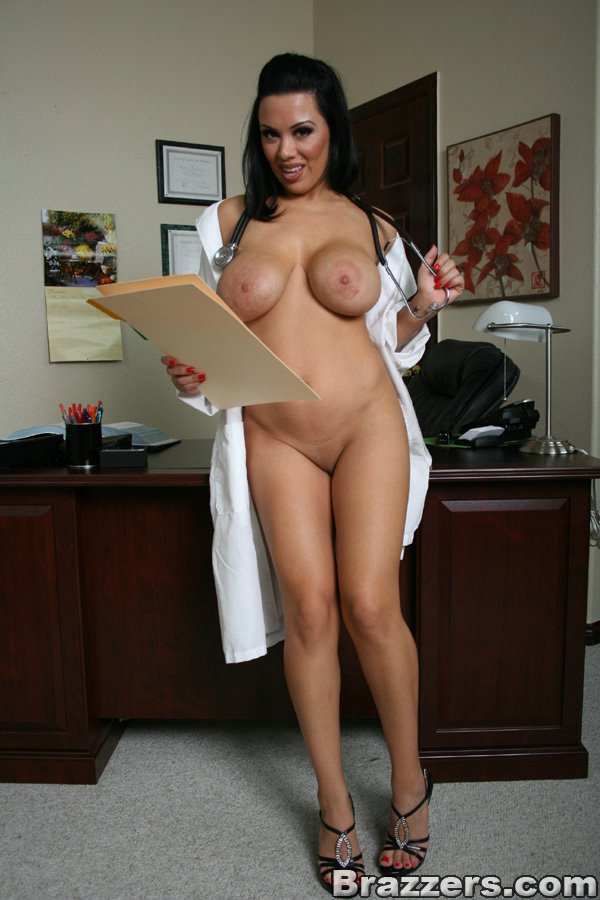 Japanese nurse and doctor in latex gloves miking patient