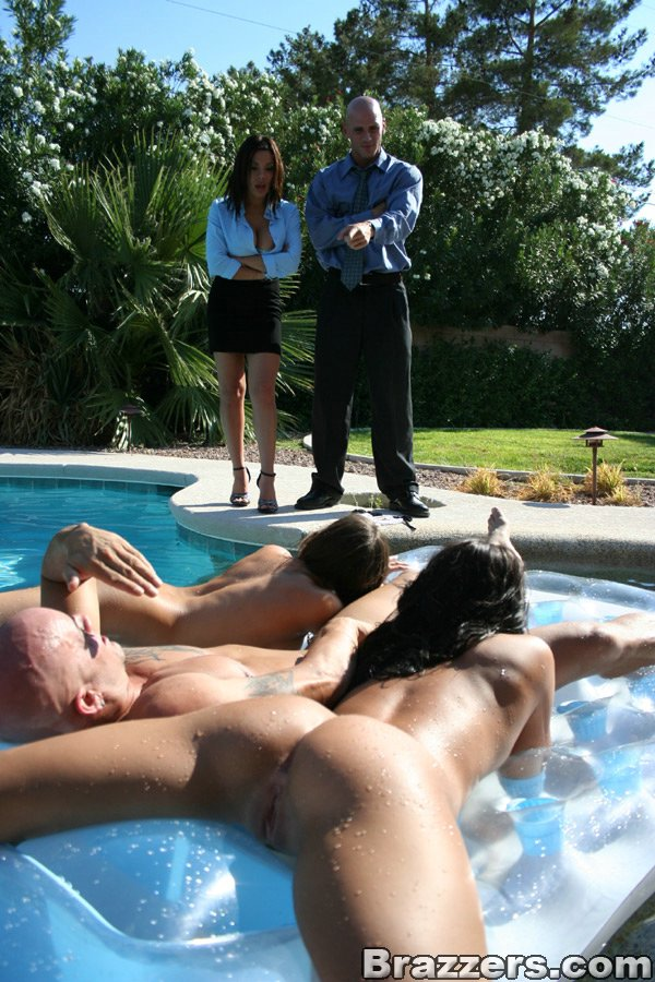 two hotties in bikinis getting off in a wild threesome at