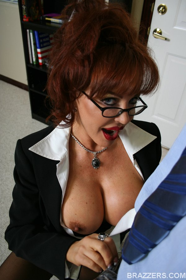 Big tits milf glasses