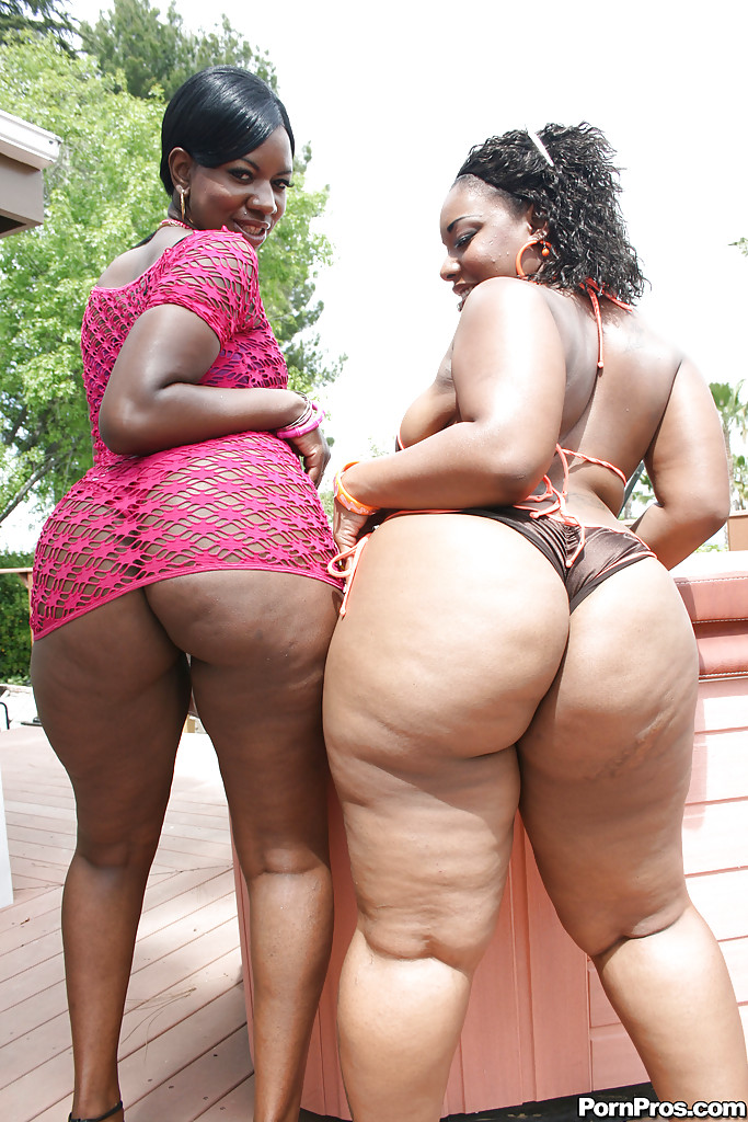 bbw ebony clips - Fatty ebony babes Kiwi and Brownii showing hot asses and boobs outdoor ...