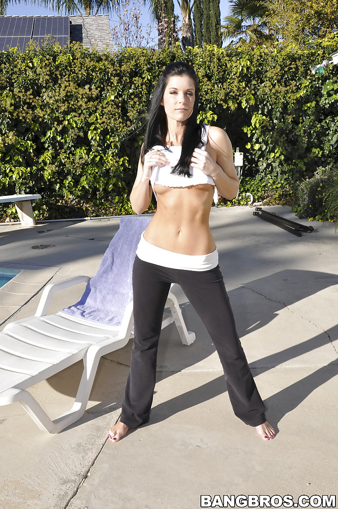 milf india summer posing outdoor near pool showing her