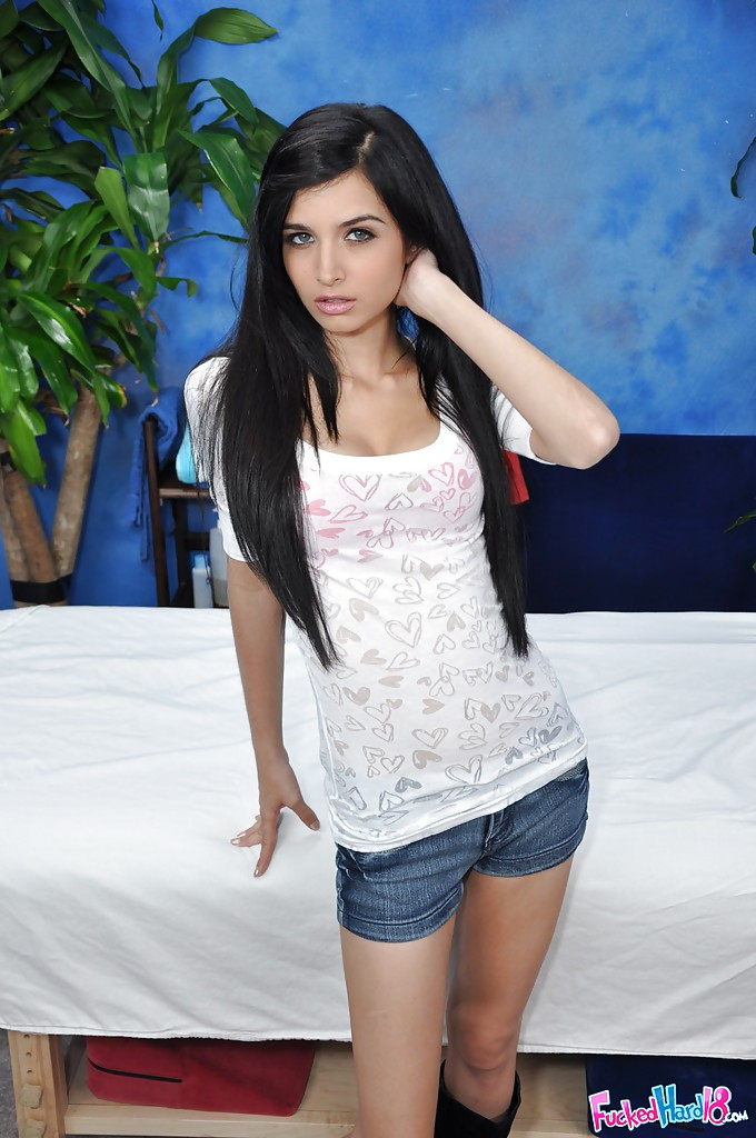 Fiery latina babe in jean shorts strips and exposes her goodies