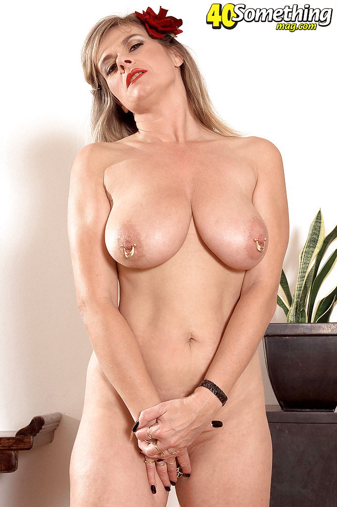 Mature lady with huge boobs Marina Rene fondling her ...