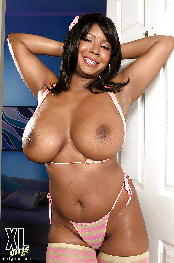 Busty black bbw ms deja oils and fucks her huge ebony tits - 1 part 9