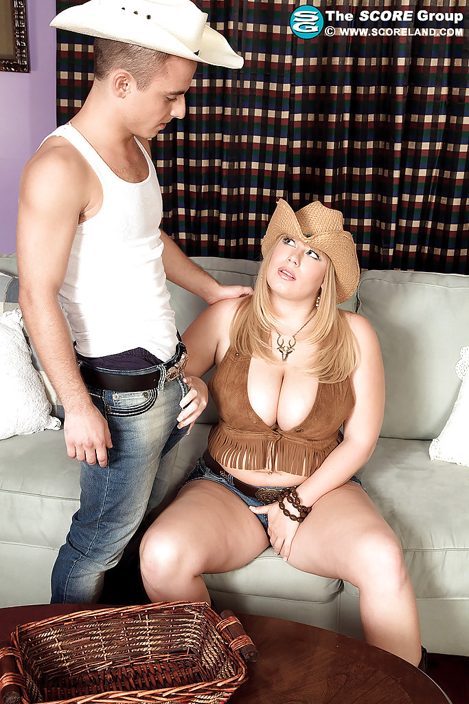fat milf collar - ... Fat MILF in a cowboy hat Destiny Rose gets her puffy melons fucked ...