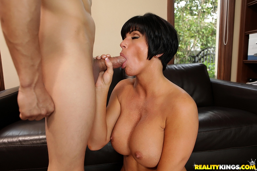 Short haired milf fucks young stud
