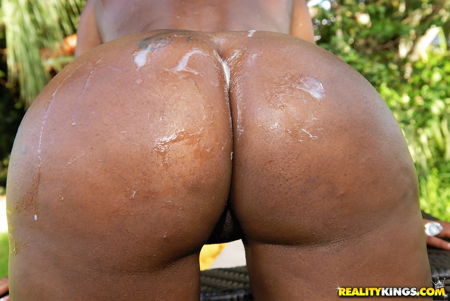 Cum covered ebony ass