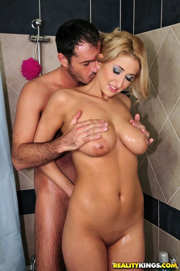 double handjob in shower - ... European cutie with big tits Carina gives a handjob in the shower ...