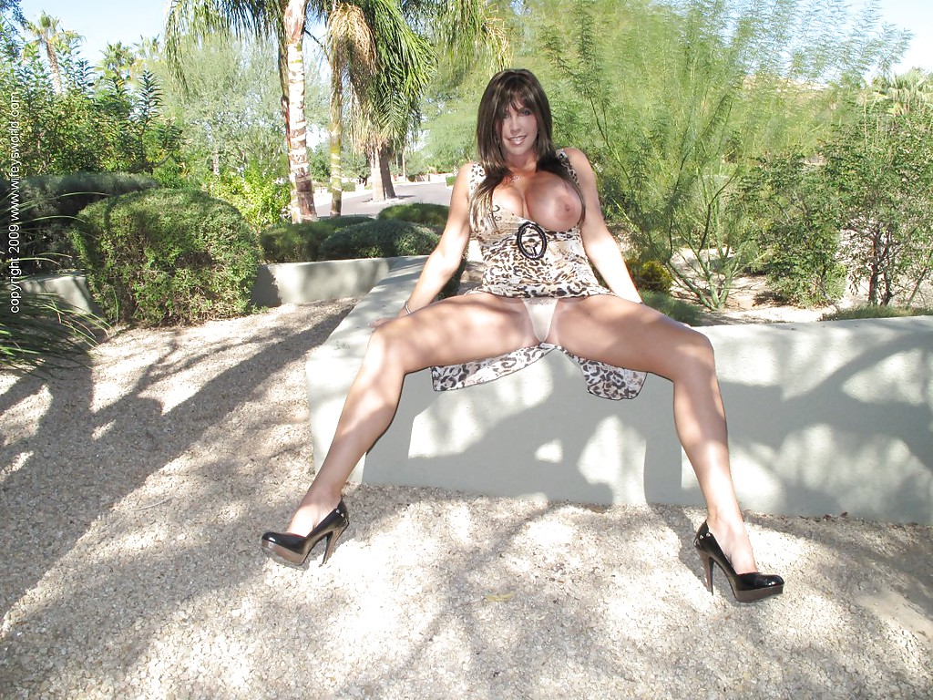 mature big breasts outdoors - ... Mature wife on high heels Wifey flashes her big boobs outdoor ...