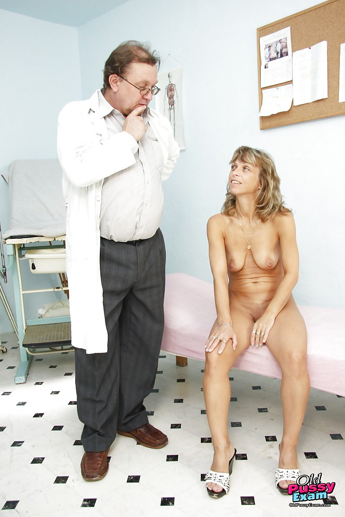 ... Pretty mature at the Gyno with shit shoved into her dripping cunt hole  ...