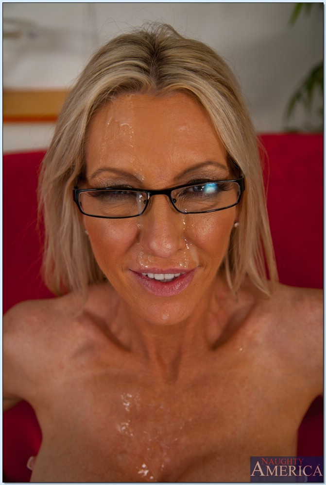 Milf in glasses gets a facial