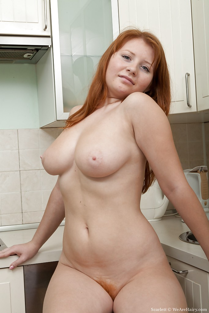 Hairy female redhead nudist