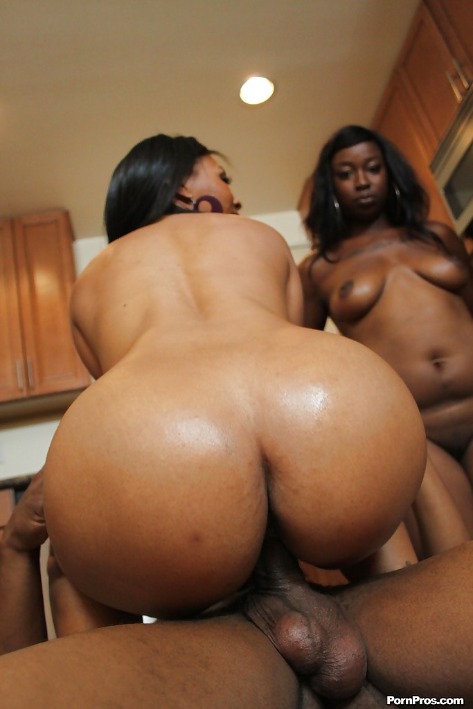 Slutty Ebony Babes Take Turns Sucking And Fucking A Big Black Boner