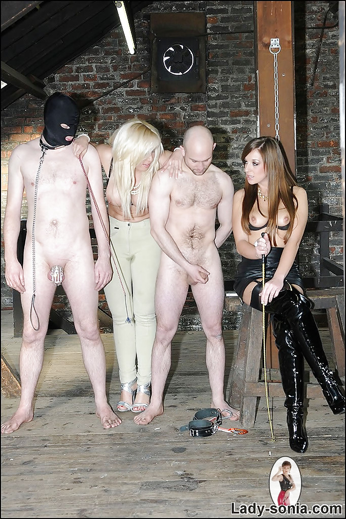 Kinky MILFs with petite big jugs playing with their human pets