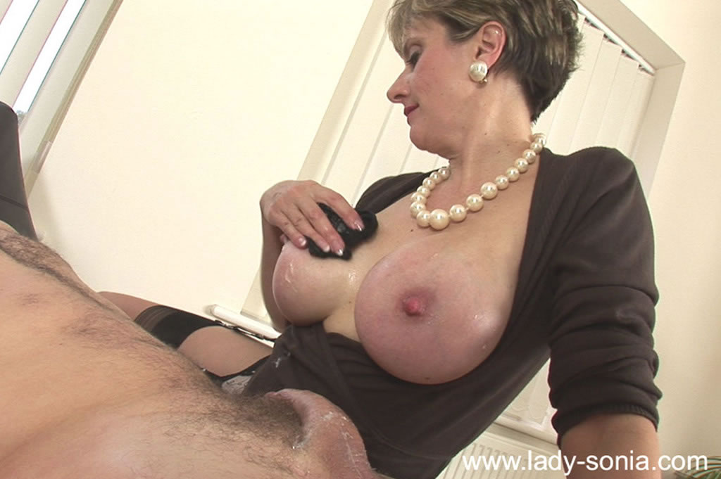 Old men blowjob by busty babe