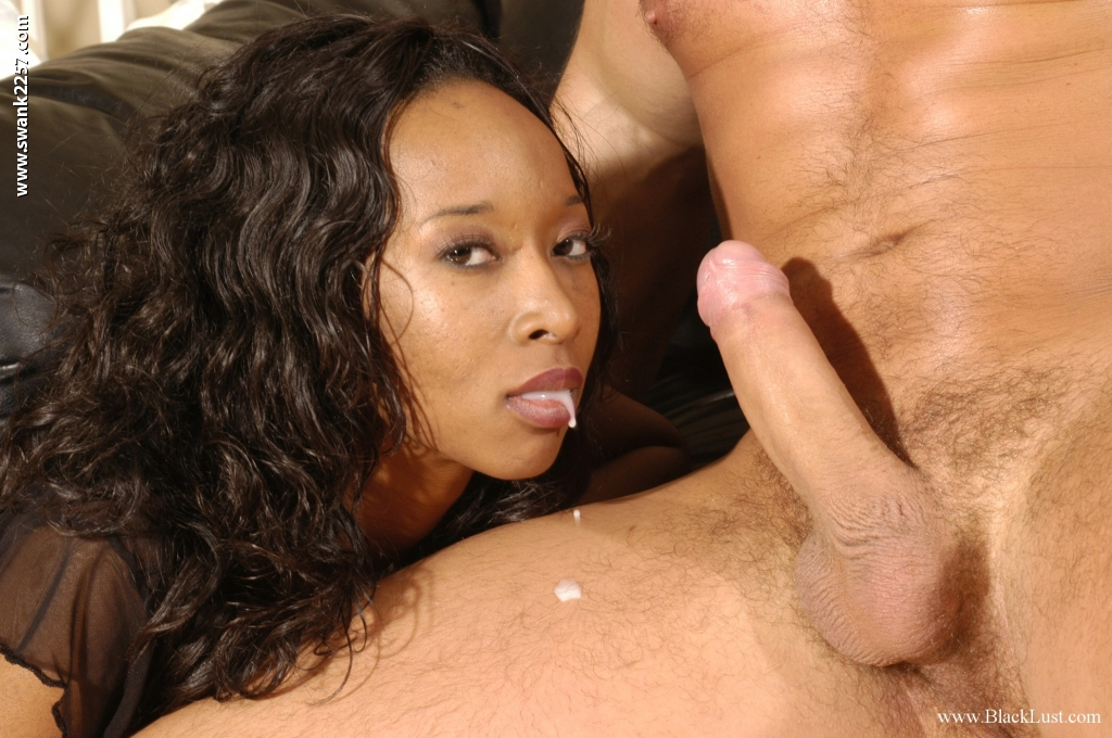 Black milf sucks white dick