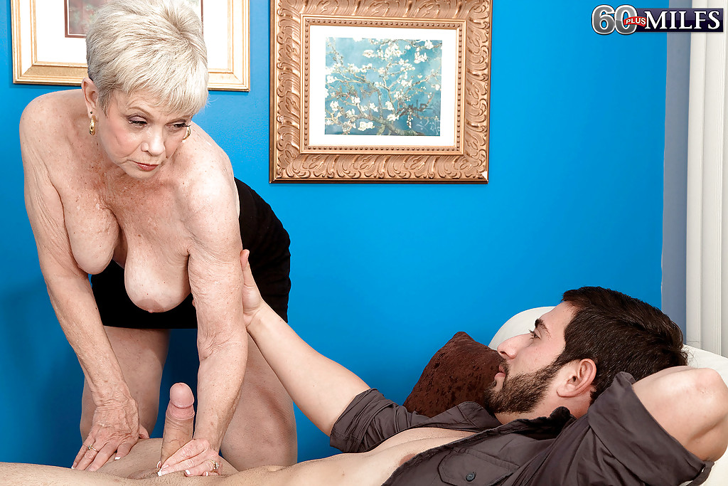 Grannie handjob threesome