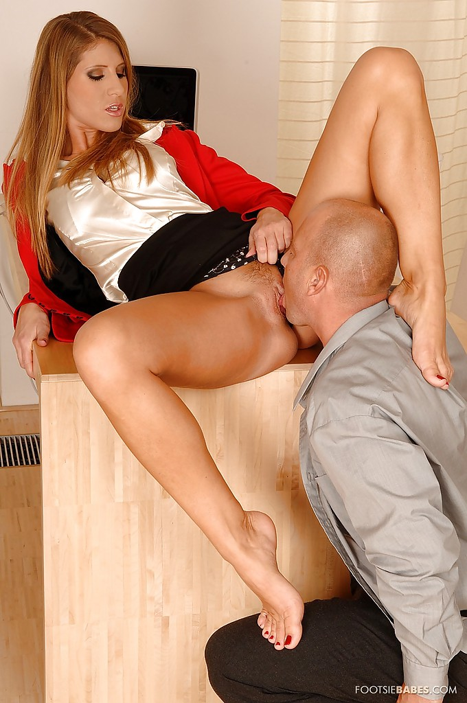 Blonde gives hot footjob cum on feet toes 5