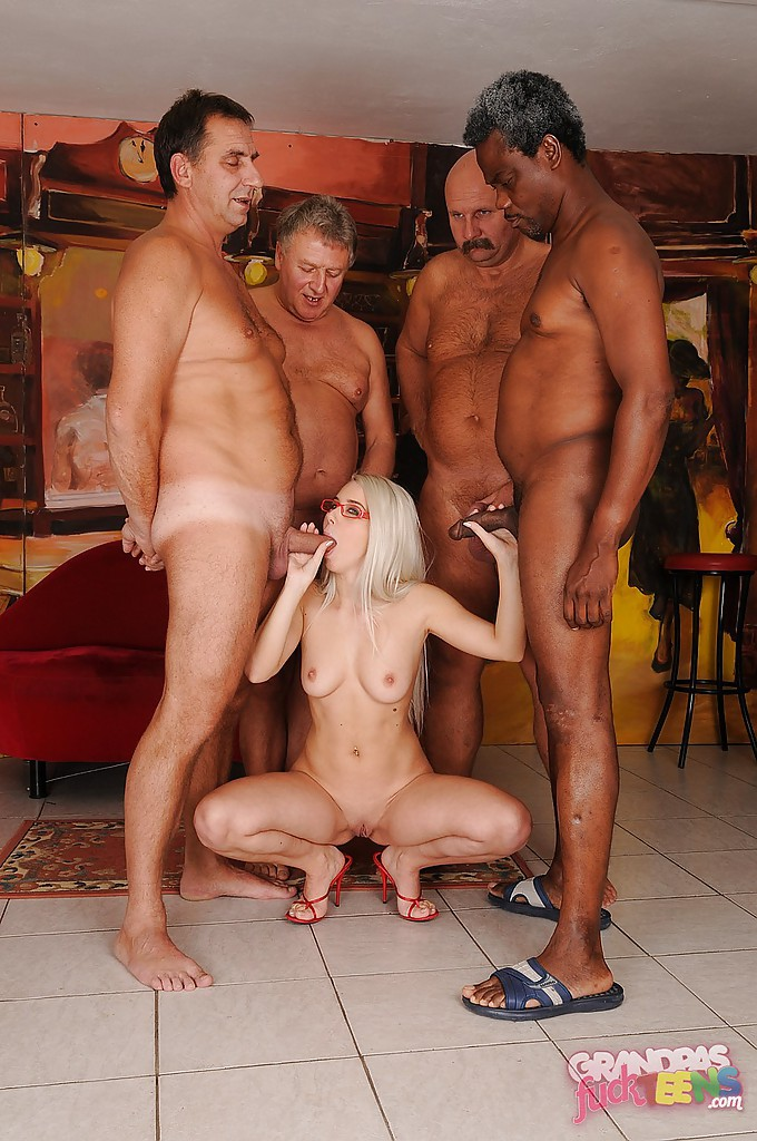 Old young babe gangbang with grandpas double fuck free mobile porn photo