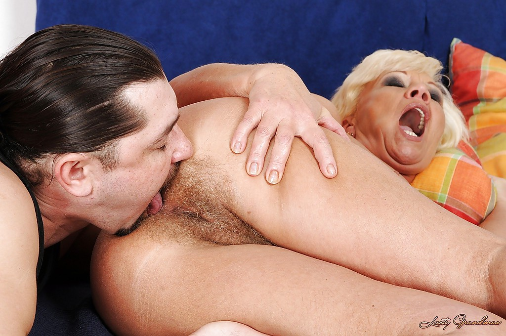 Licking ass granny