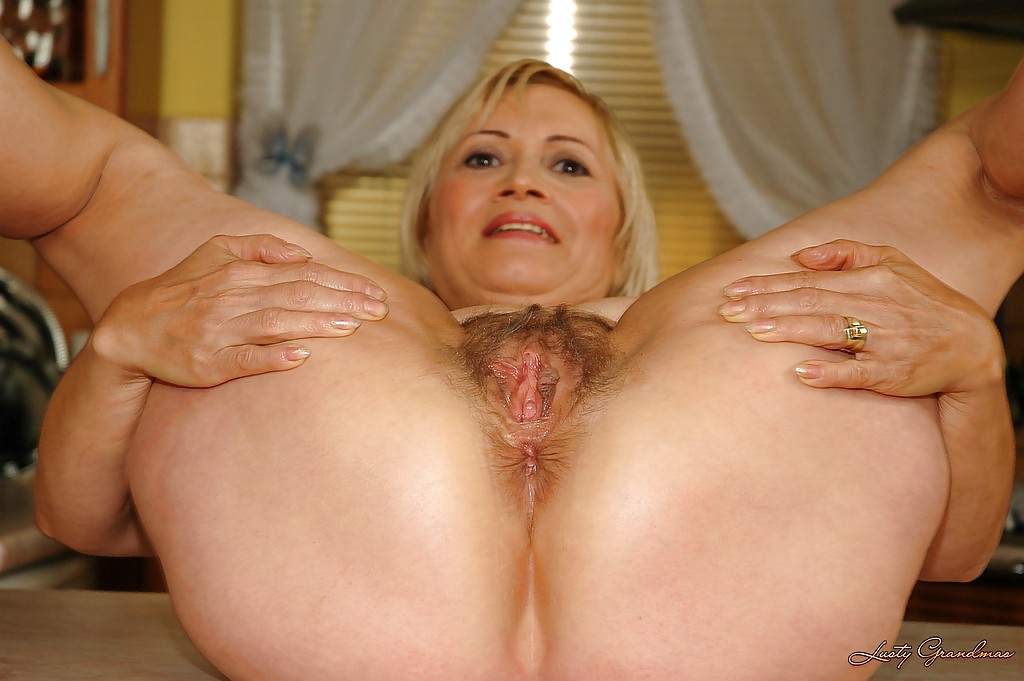 Young older woman pussy stretching