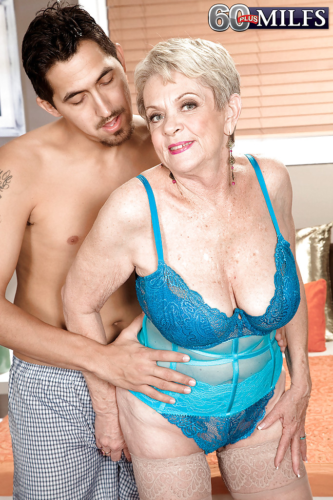 ... Lascivious granny with big tits Lin Boyde gets fucked by a younger guy  ...