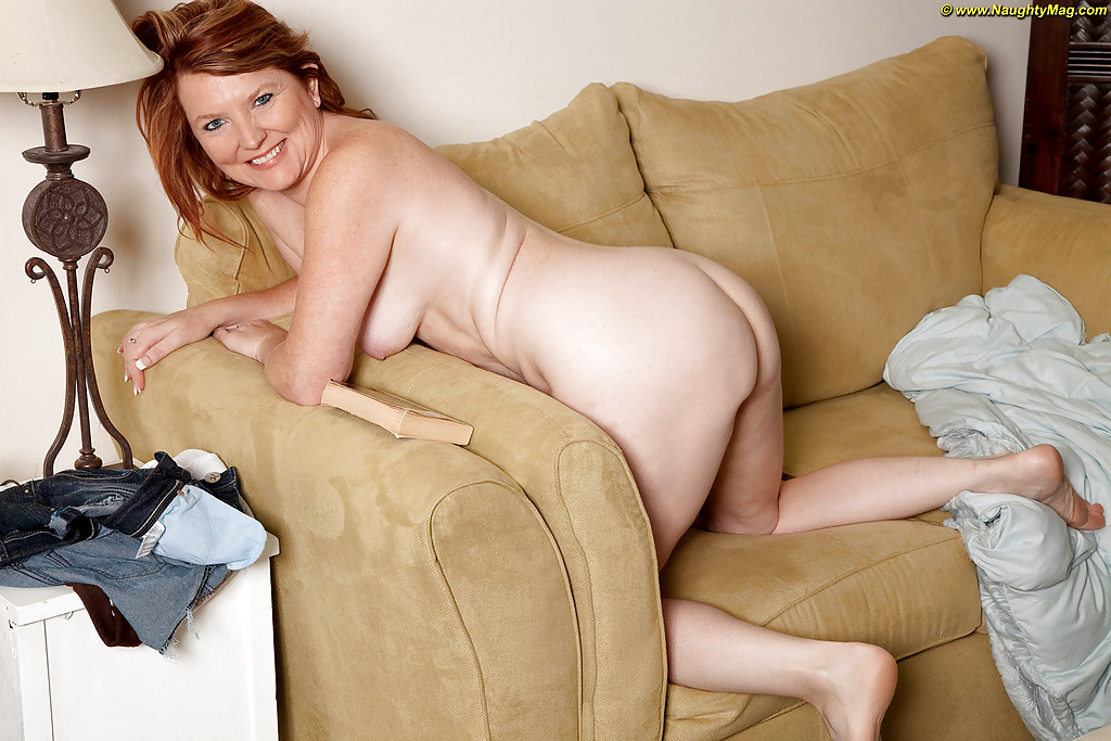 Big Tits Redhead Mature Porn - ... Redhead mature lady with small tits Stacie King slipping off her  clothes ...