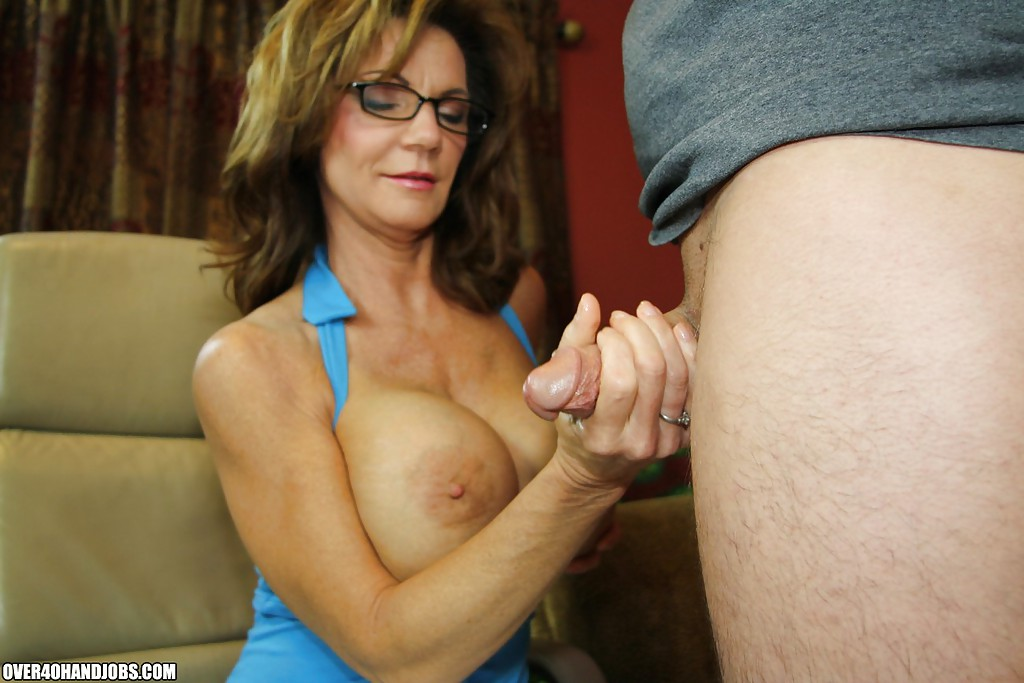 Big-titted granny handjob
