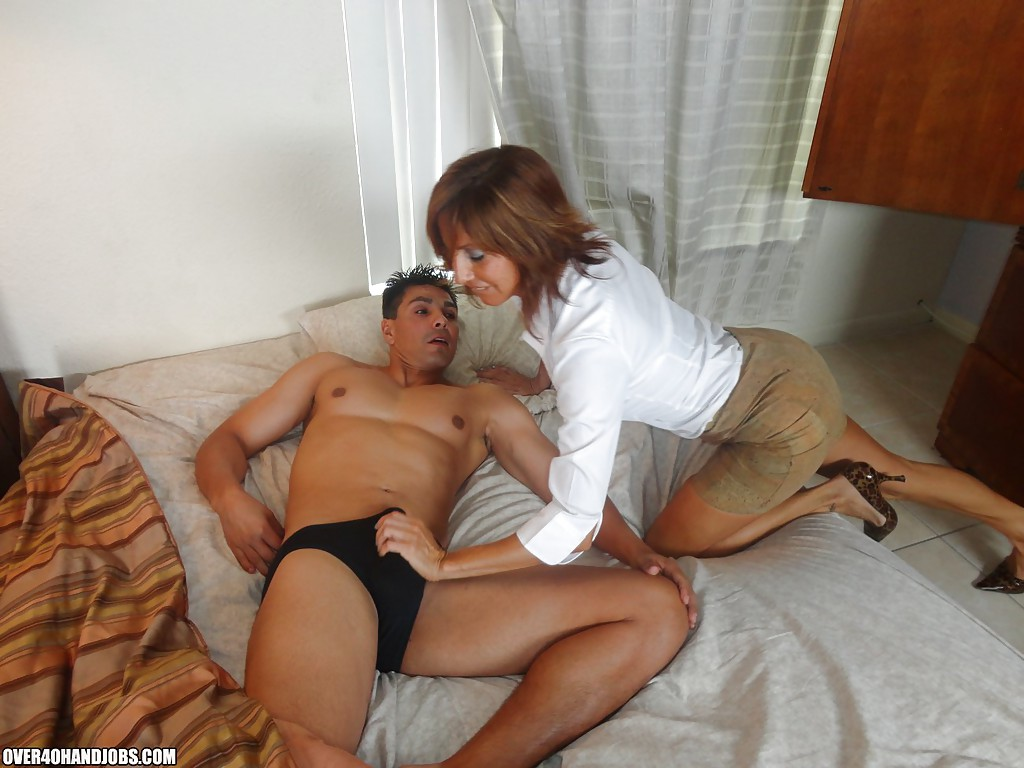 Older female young male hand job