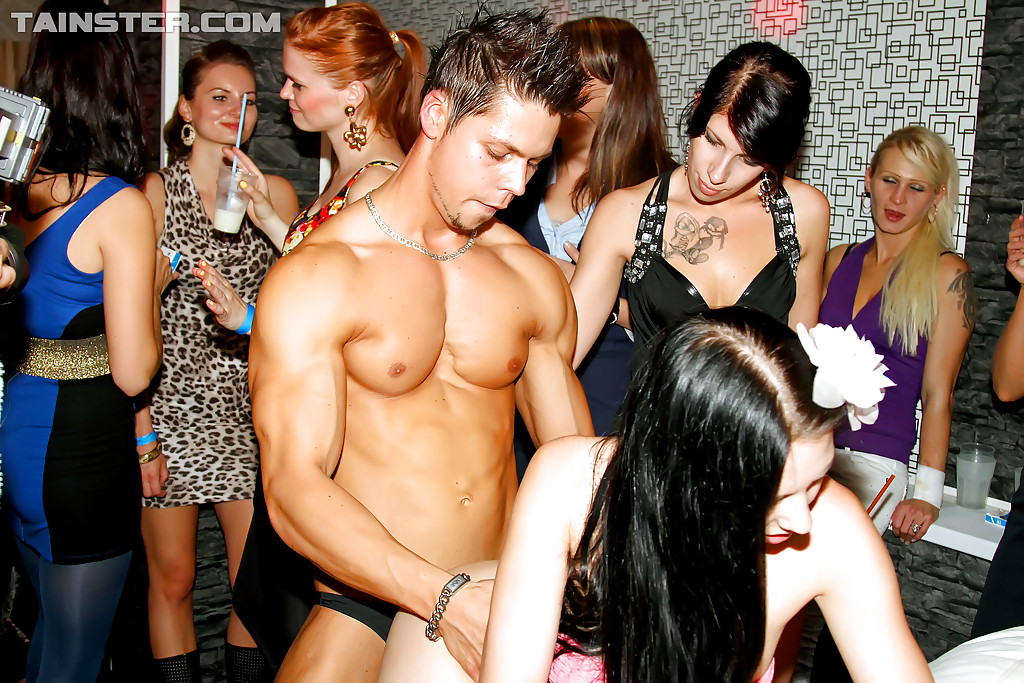 Cock hungry babes going wild at the party with hot male strippers