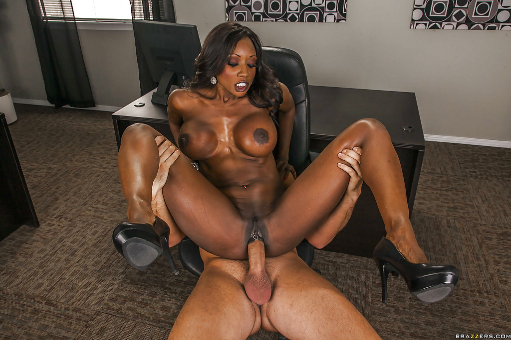 Busty black milf gets pounded on her back then facialed 10