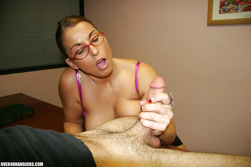 A naughty lady jacks off a cock 5