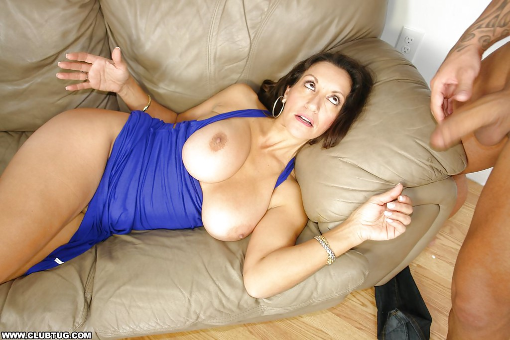 Cum covered mature tits