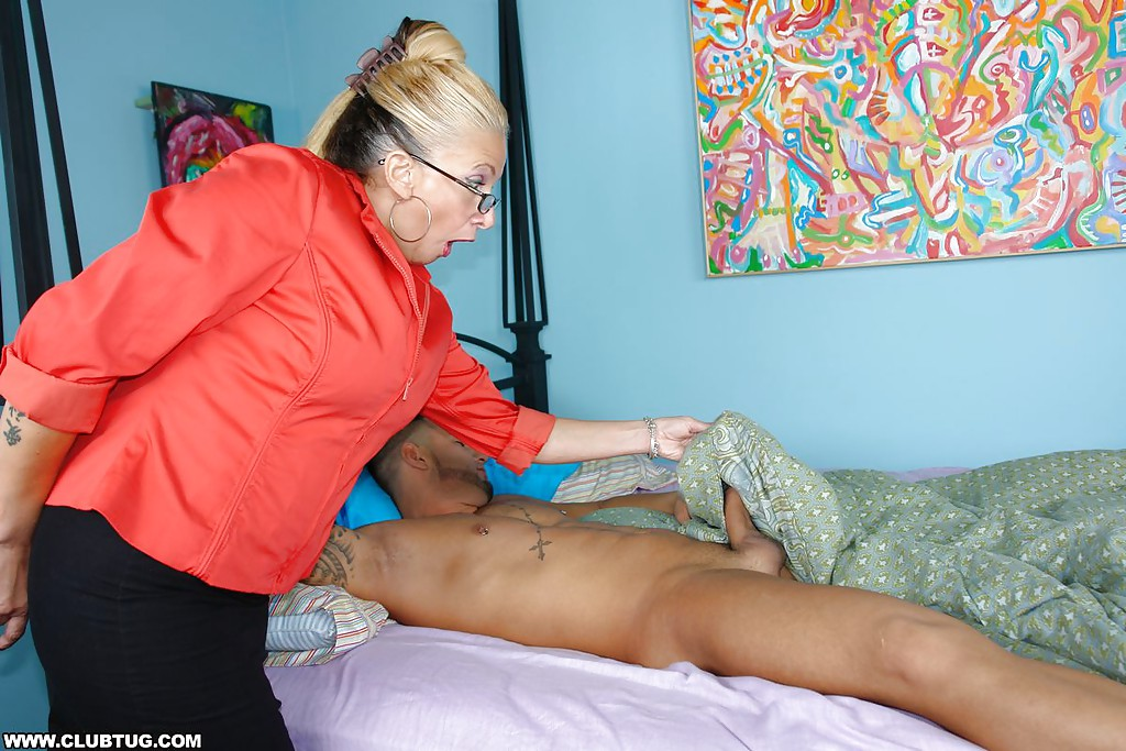 Fully Clothed Mature Blonde In Glasses Stroking A Big Cock
