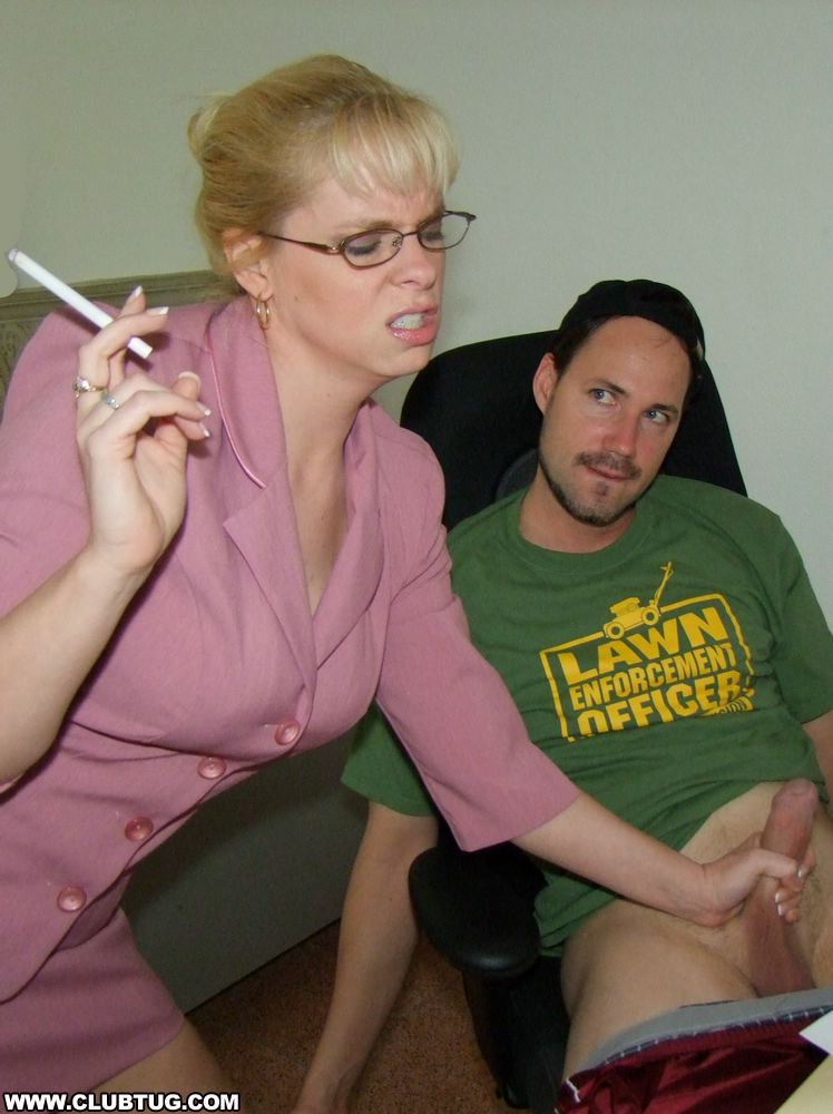 ... Smoking mature blonde in glasses gets a cumshot on her big tits ...