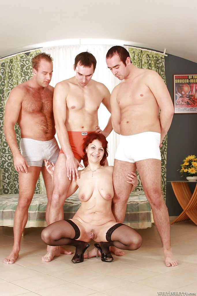 ... Lascivious mature lady gets blowbanged and fucked by three horny guys  ...