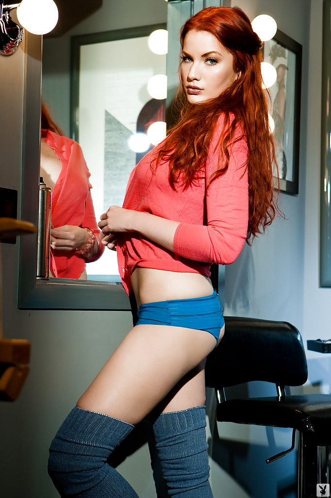 She Redhead stripping nude absolutely